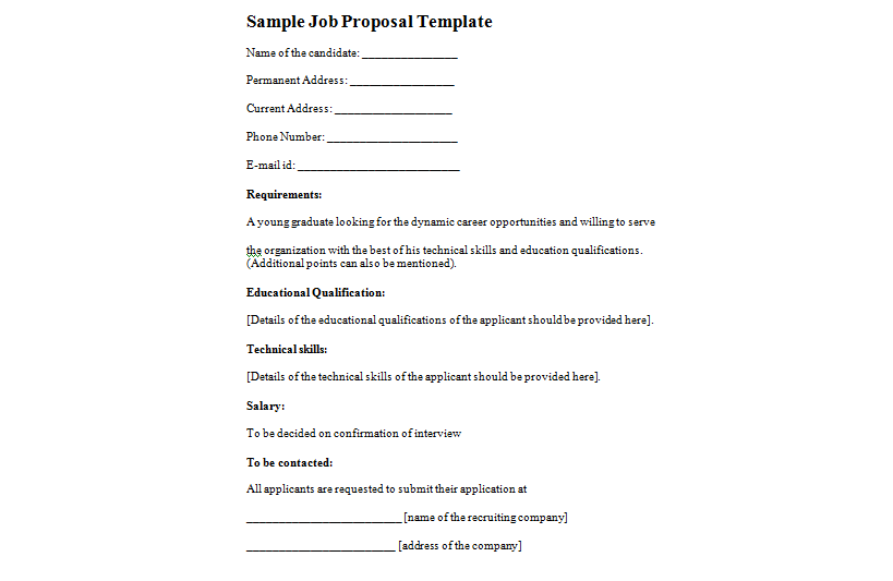 5+ Job proposal templates - Word Excel PDF Formats