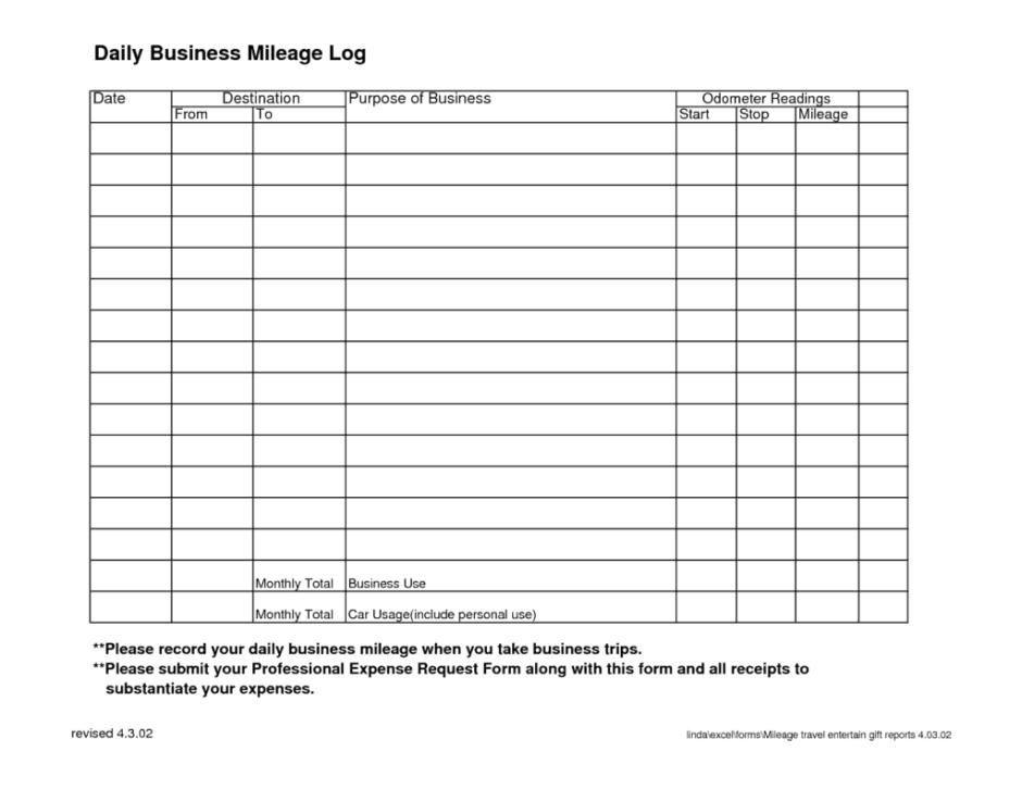 mileage log template pdf