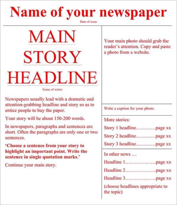 Full Newspaper Template – name