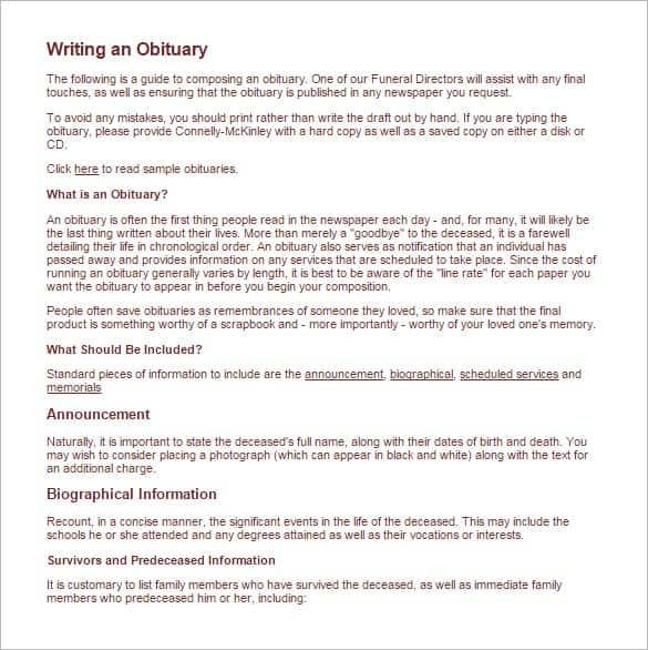 obituary outline template - 11 obituary templates word excel pdf formats