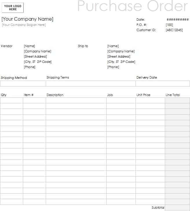 microsoft order form templates