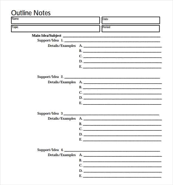 Research Paper Outlines Template