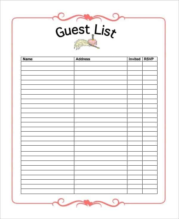 online list maker  Party guest list maker Archives - Word Templates