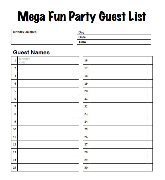 how to create a guest list for a party