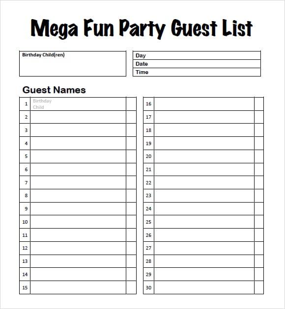 party guest list image 3