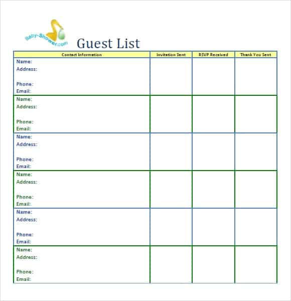 Printable Guest List Template. Party Guest List Image 4  Printable Wedding Guest List Template