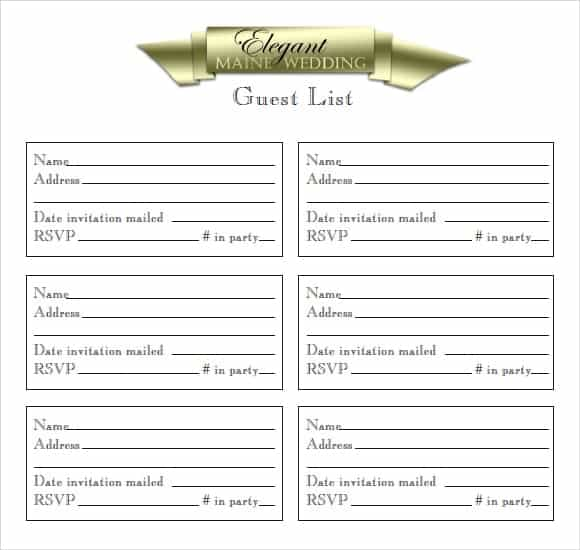 Party Guest List Image 6 Intended Printable Guest List Template