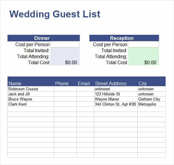 10 Party guest list templates Word Excel PDF Formats – Bridal Party List Template