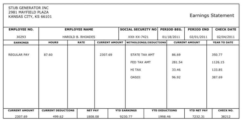 Pay Stub Templates Word Excel PDF Formats - Free fillable paycheck stub template
