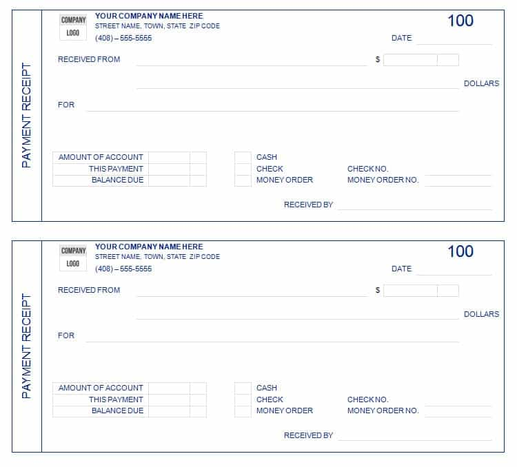 8 Payment receipt templates Word Excel PDF Formats – Example of Receipt of Payment