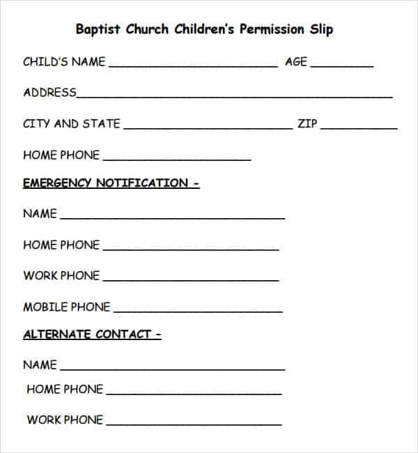 Permission Slip Templates  Word Excel Pdf Formats