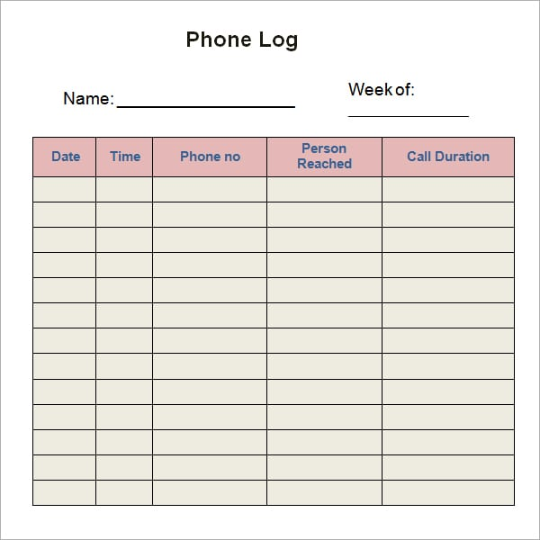 telephone message log