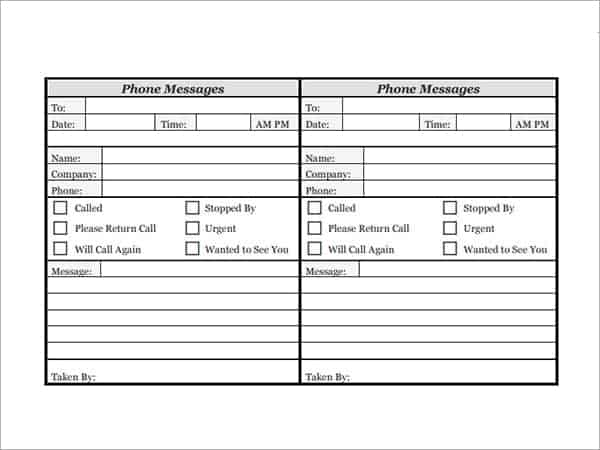 10 phone log templates word excel pdf formats for Telephone memo template