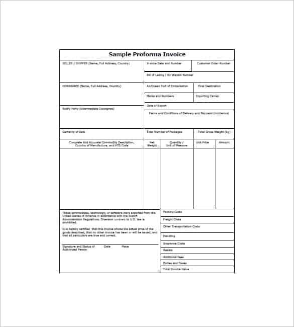 Proforma Invoice Templates Word Excel PDF Formats - Free proforma invoice template