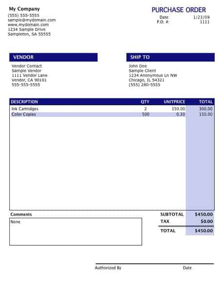 8 Purchase order templates Word Excel PDF Formats – Purchase Order Template