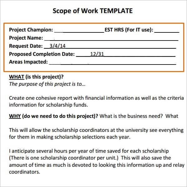 simple scope of work template 7  Construction scope of work templates - Word Excel PDF Formats