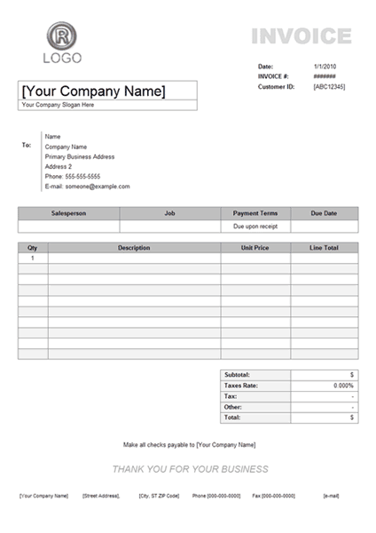 receipt for services template