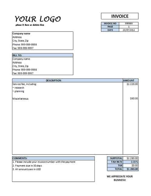 Printable Service Invoice Template