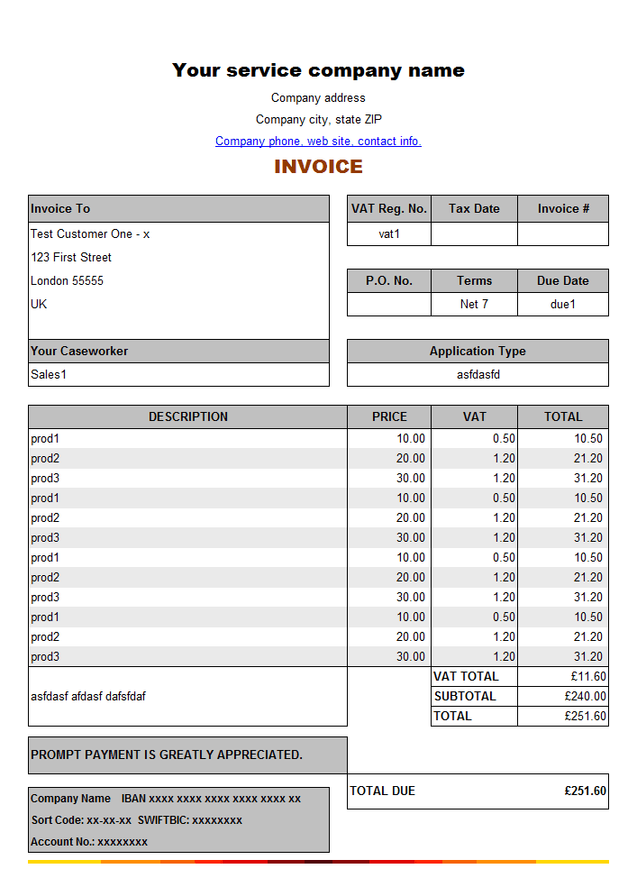 template for service invoice