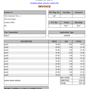service invoice example archives word templates