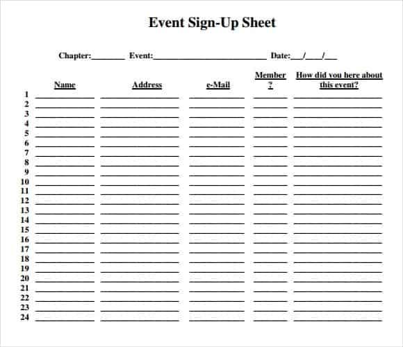 Wonderful Sign Up Sheet Template Free