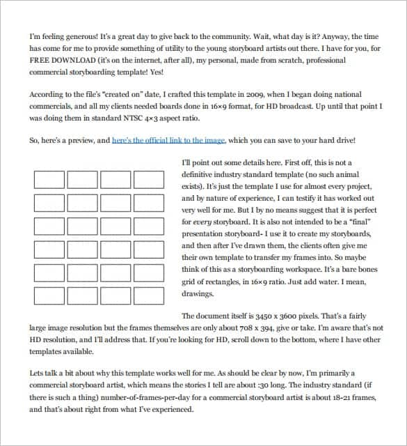 Movie Storyboard Free Sample Example Format Download Simple