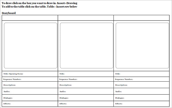10 storyboard templates word excel pdf formats for Film storyboard template word