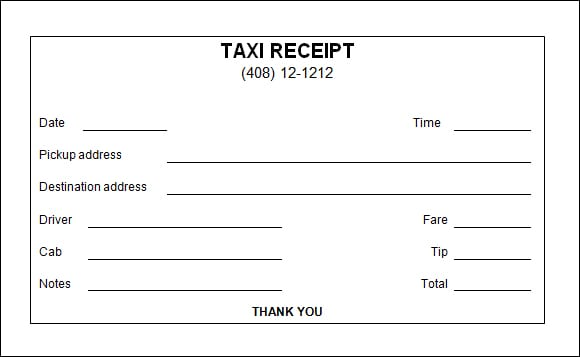 7 taxi receipt templates word excel pdf formats. Black Bedroom Furniture Sets. Home Design Ideas