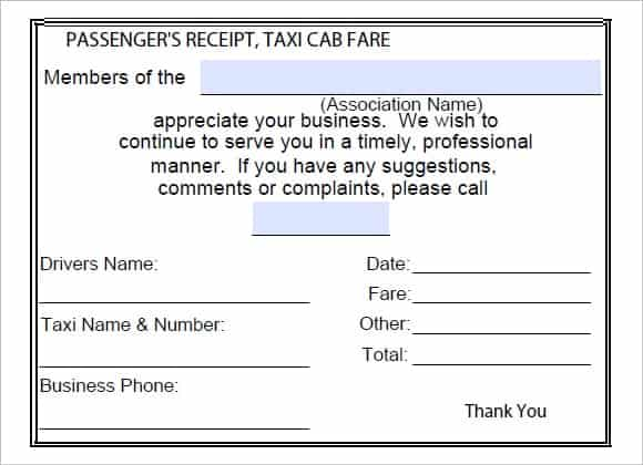 Taxi Fare Receipt Template Gallery Template Design Free Download