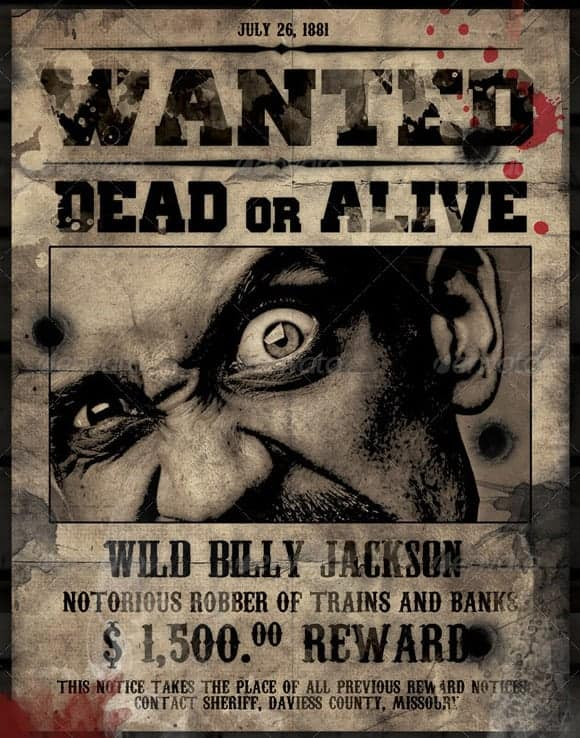 Wanted Poster Book Report Project templates