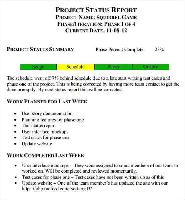 7 Weekly status report templates Word Excel PDF Formats – Weekly Report Template