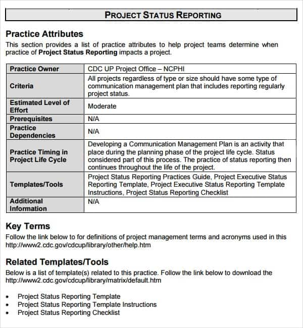 7 Weekly status report templates Word Excel PDF Formats – Status Report Template