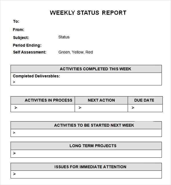 Company Weekly Status Report Template Archives - Word Templates