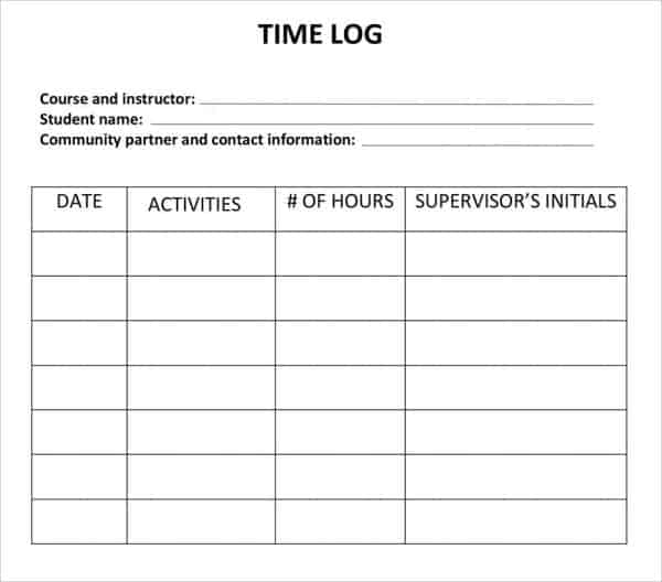 logging hours template