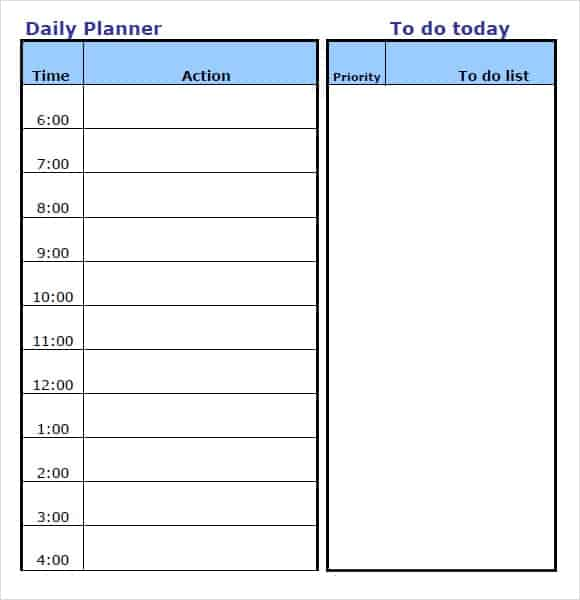 daily planner template 5