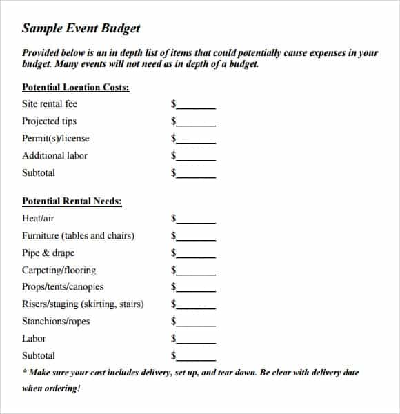 9+ Event Budget Templates - Word Excel Pdf Formats
