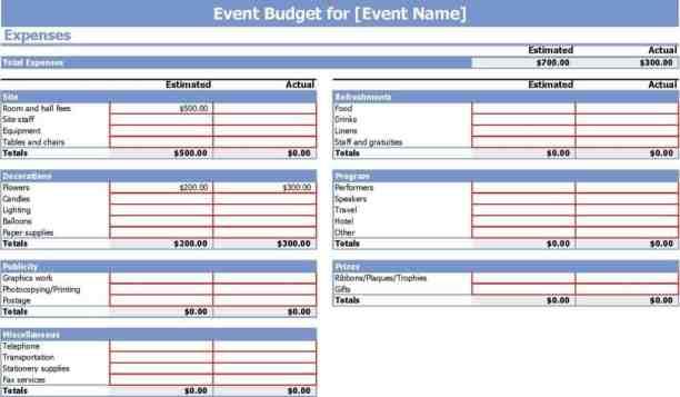 event budget template 9