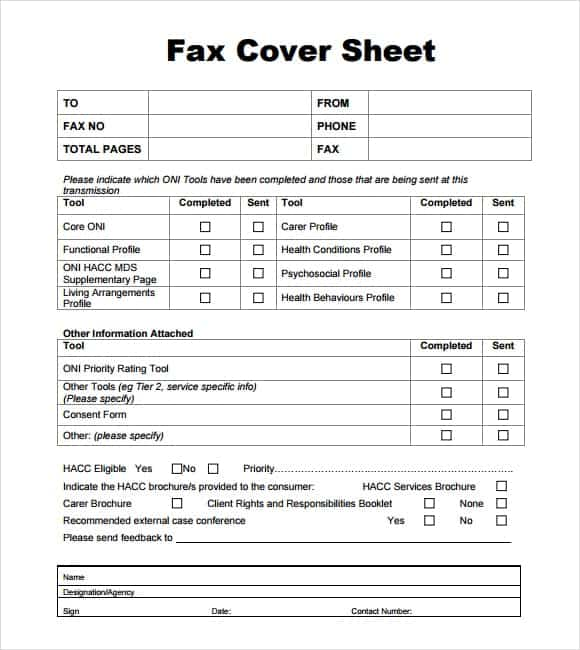 fax cover sheet template 8