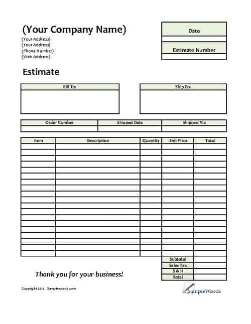 8+ Job Estimate Templates - Word Excel PDF Formats
