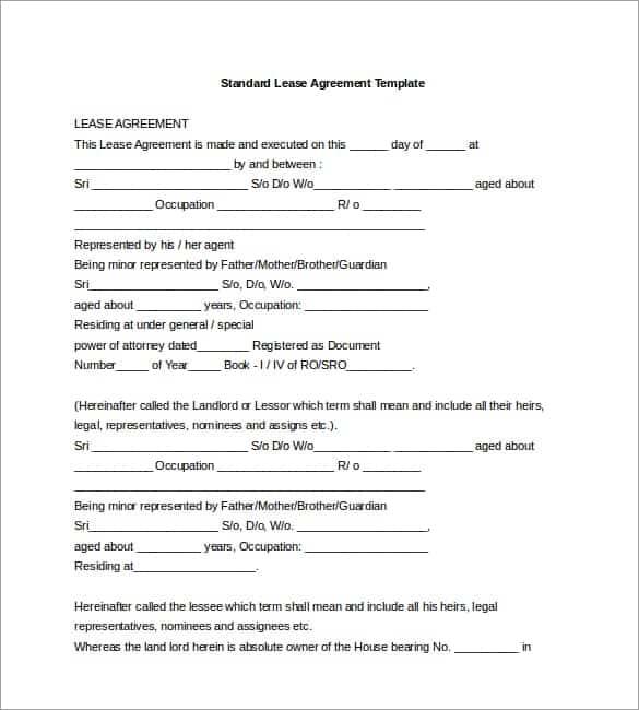 Standard Rental Agreement Template Kenindlecomfortzone