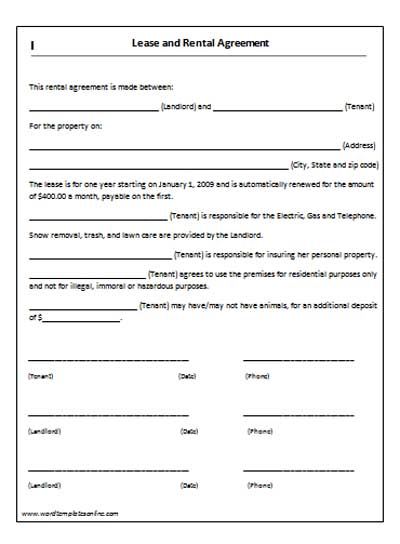 Doc 403525 Lease Agreement Samples U2013 Rental Agreement Form Free