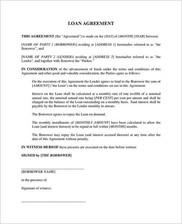 20 Loan Agreement Templates Word Excel PDF Formats – Template Loan Agreement Free