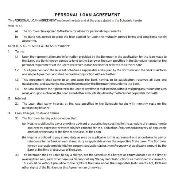 Loan Agreement Template 17  Personal Loan Agreement Template Microsoft Word