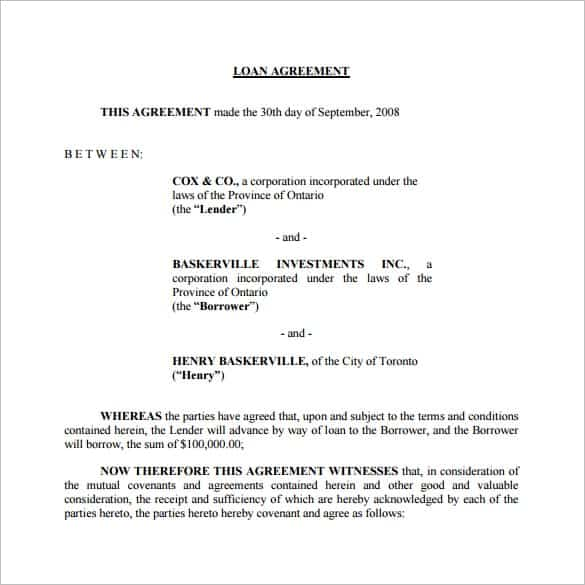 loan agreement template 8