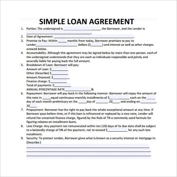 20 Loan Agreement Templates Word Excel PDF Formats – Sample Construction Loan Agreement