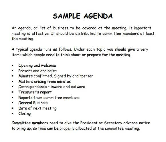 Sample Meeting Agenda Outline Example Production Management
