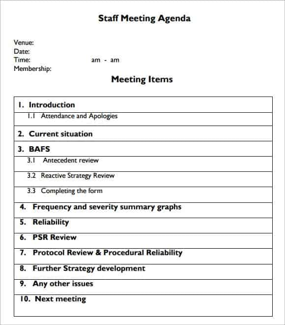 Meeting Agenda Templates  Word Excel Pdf Formats