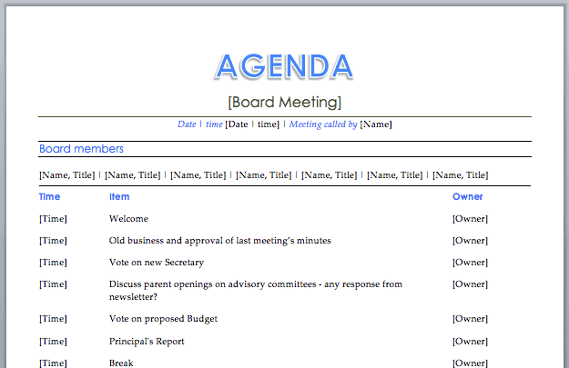 Meeting Agenda Template 3  Best Meeting Agenda Template
