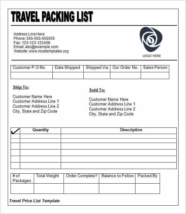 Packing List Templates  Word Excel Pdf Formats