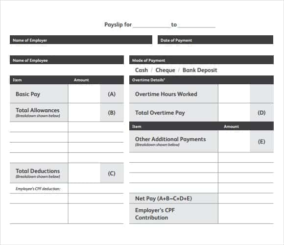 10 Payslip Templates Word Excel PDF Formats – Template for Payslip